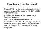 feedback from last week