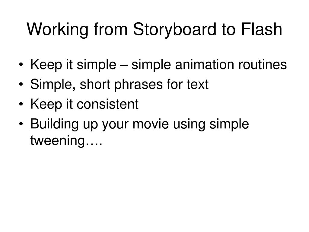 Working from Storyboard to Flash