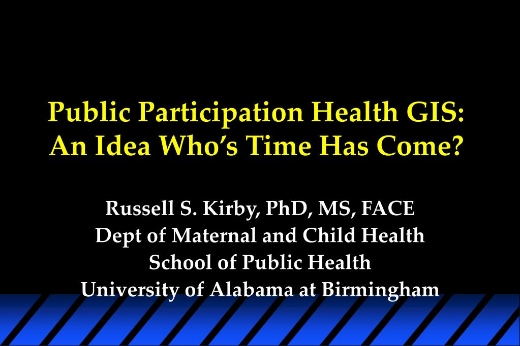 Public Participation Health GIS: An Idea Who's Time Has Come?