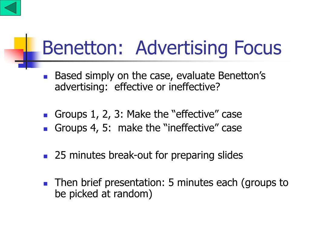 Benetton:  Advertising Focus