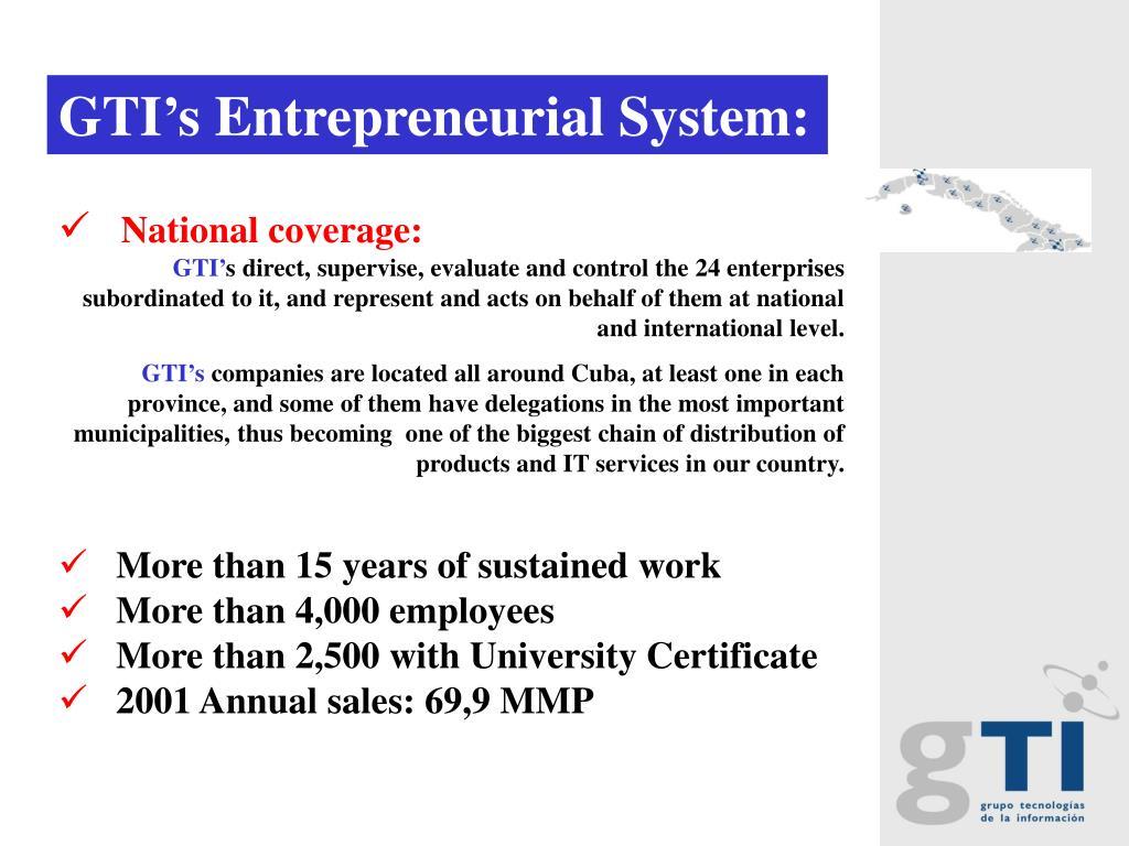 GTI's Entrepreneurial System:
