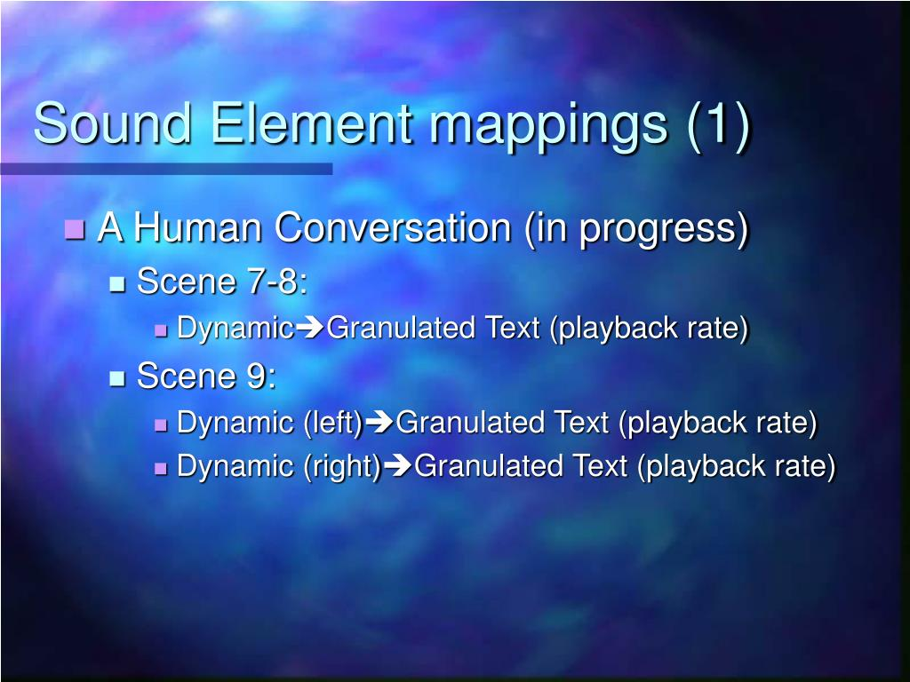 Sound Element mappings (1)
