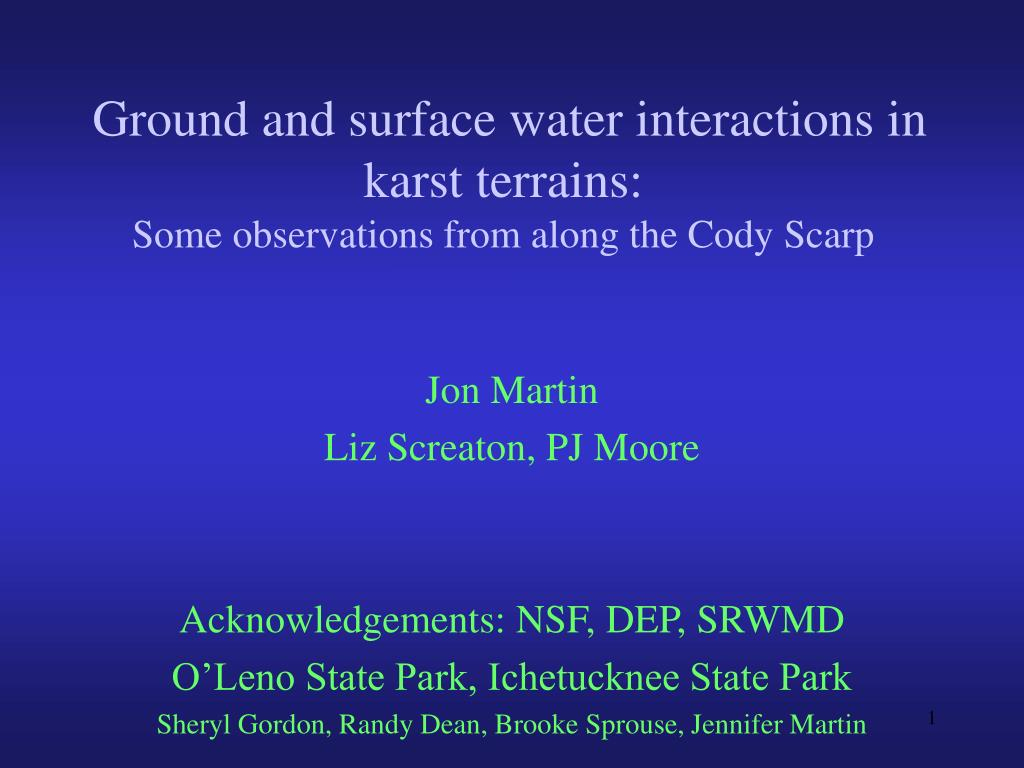ground and surface water interactions in karst terrains some observations from along the cody scarp