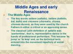 middle ages and early renaissance