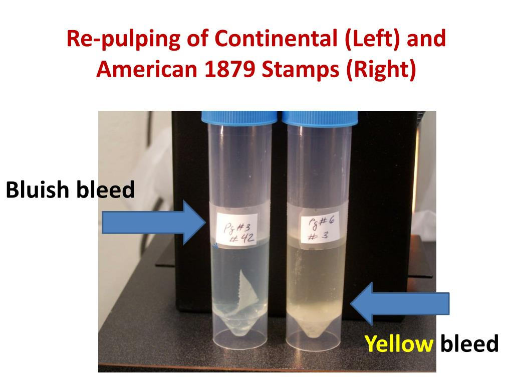 Re-pulping of Continental (Left) and American 1879 Stamps (Right)