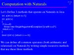 computation with naturals