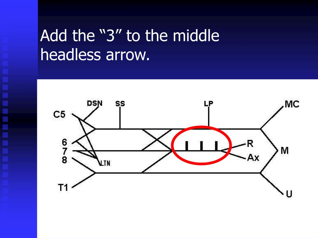 """Add the """"3"""" to the middle headless arrow."""