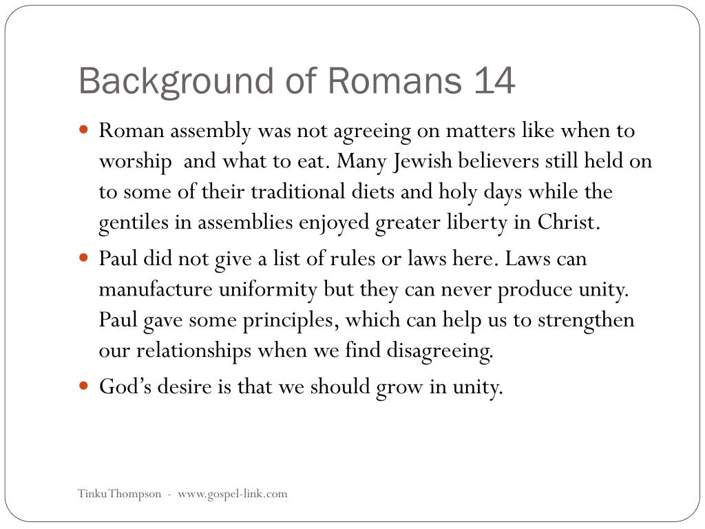 Background of Romans 14