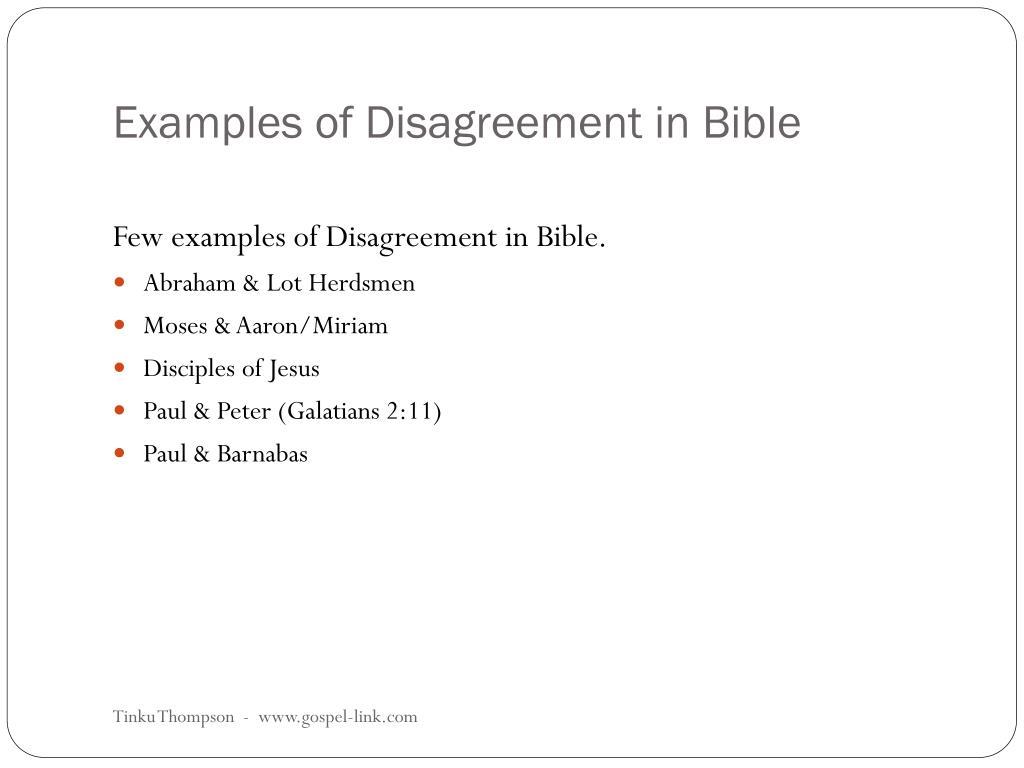 Examples of Disagreement in Bible