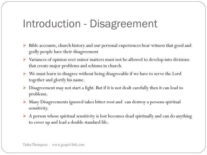 Introduction disagreement