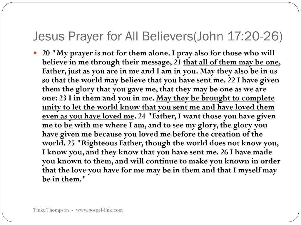 Jesus Prayer for All Believers(John 17:20-26)