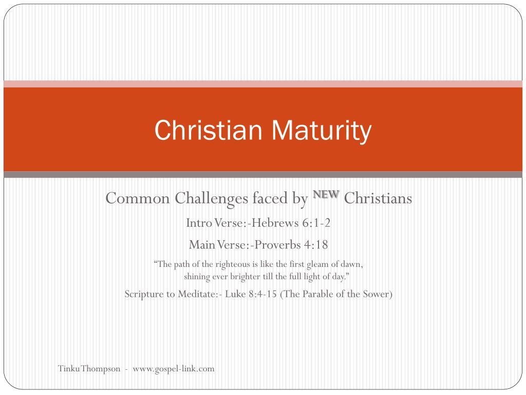 christian maturity l.