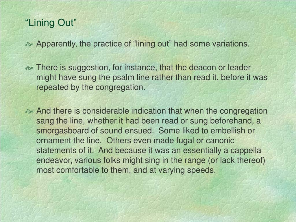 """""""Lining Out"""""""