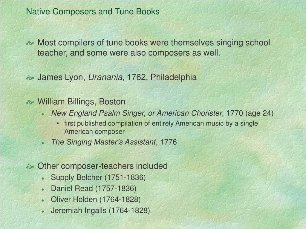Native Composers and Tune Books