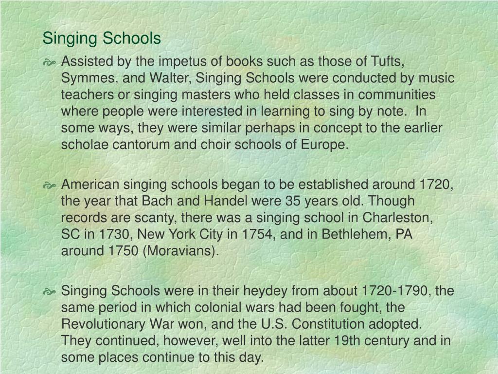 Singing Schools