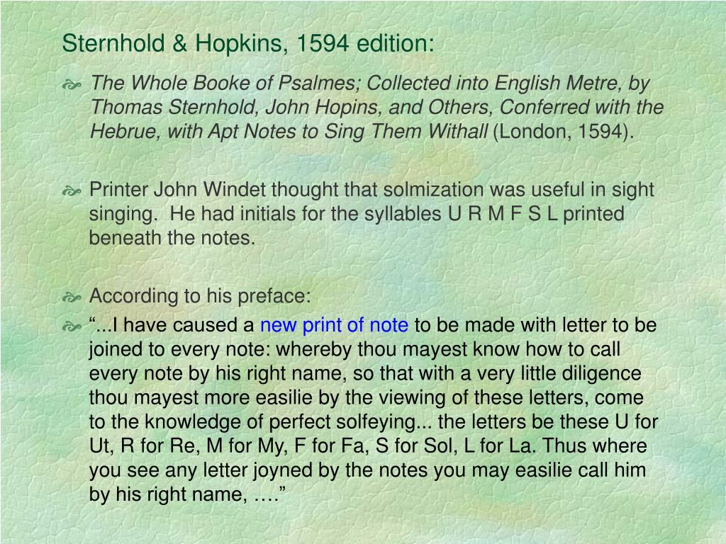 Sternhold & Hopkins, 1594 edition: