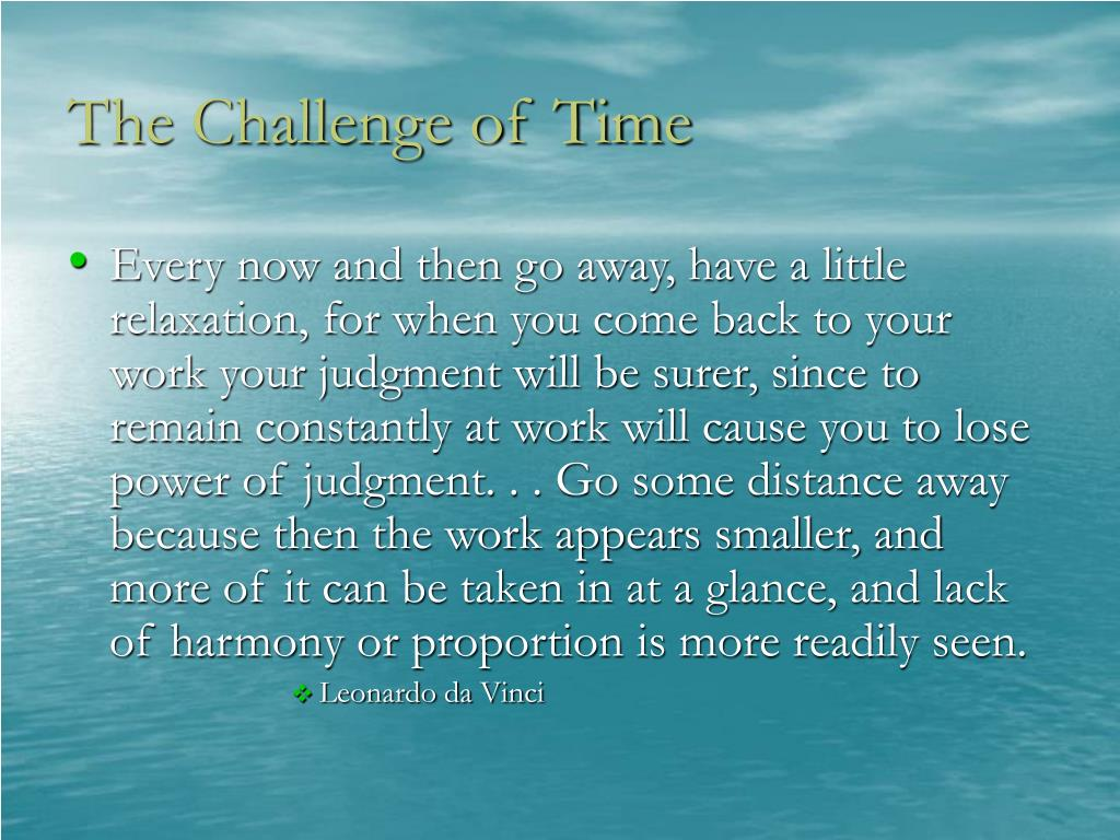 The Challenge of Time