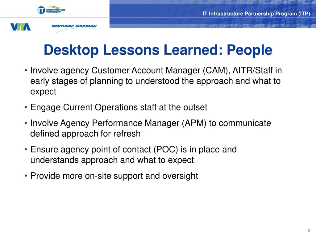 Desktop Lessons Learned: People