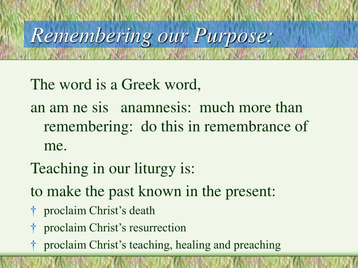 Remembering our purpose3