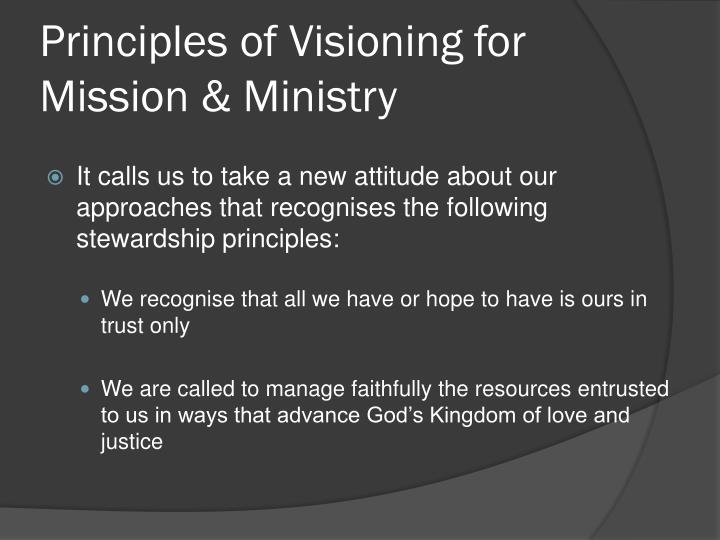 Principles of visioning for mission ministry