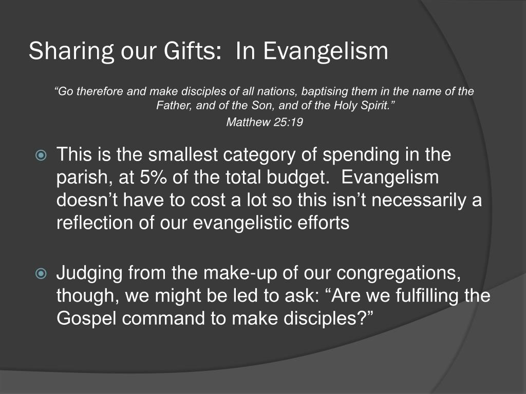 Sharing our Gifts:  In Evangelism