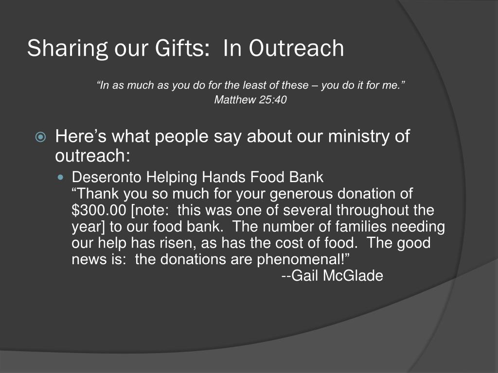 Sharing our Gifts:  In Outreach