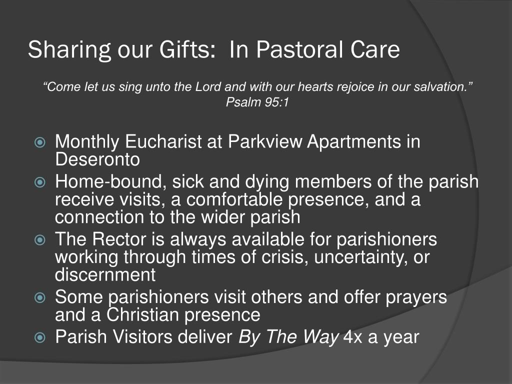 Sharing our Gifts:  In Pastoral Care