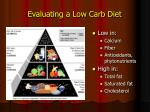 evaluating a low carb diet
