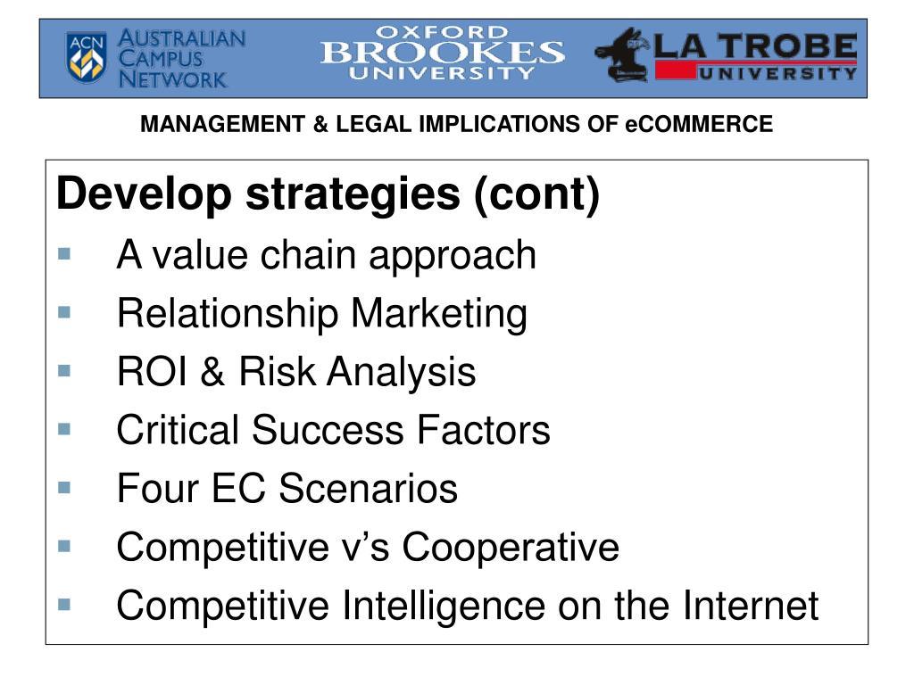 Develop strategies (cont)