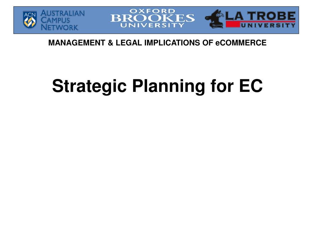 Strategic Planning for EC