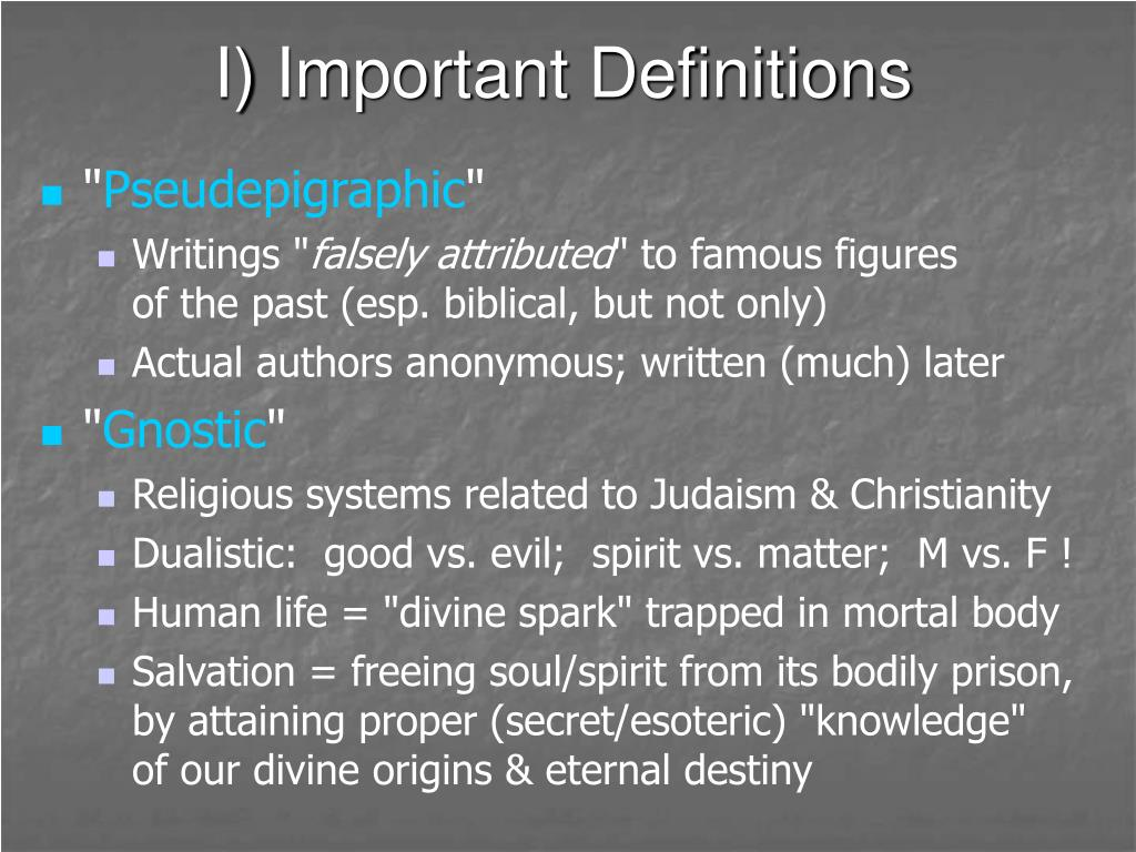 I) Important Definitions