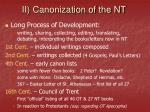 ii canonization of the nt