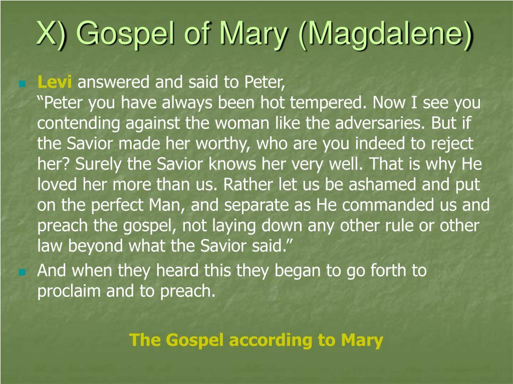 X) Gospel of Mary (Magdalene)