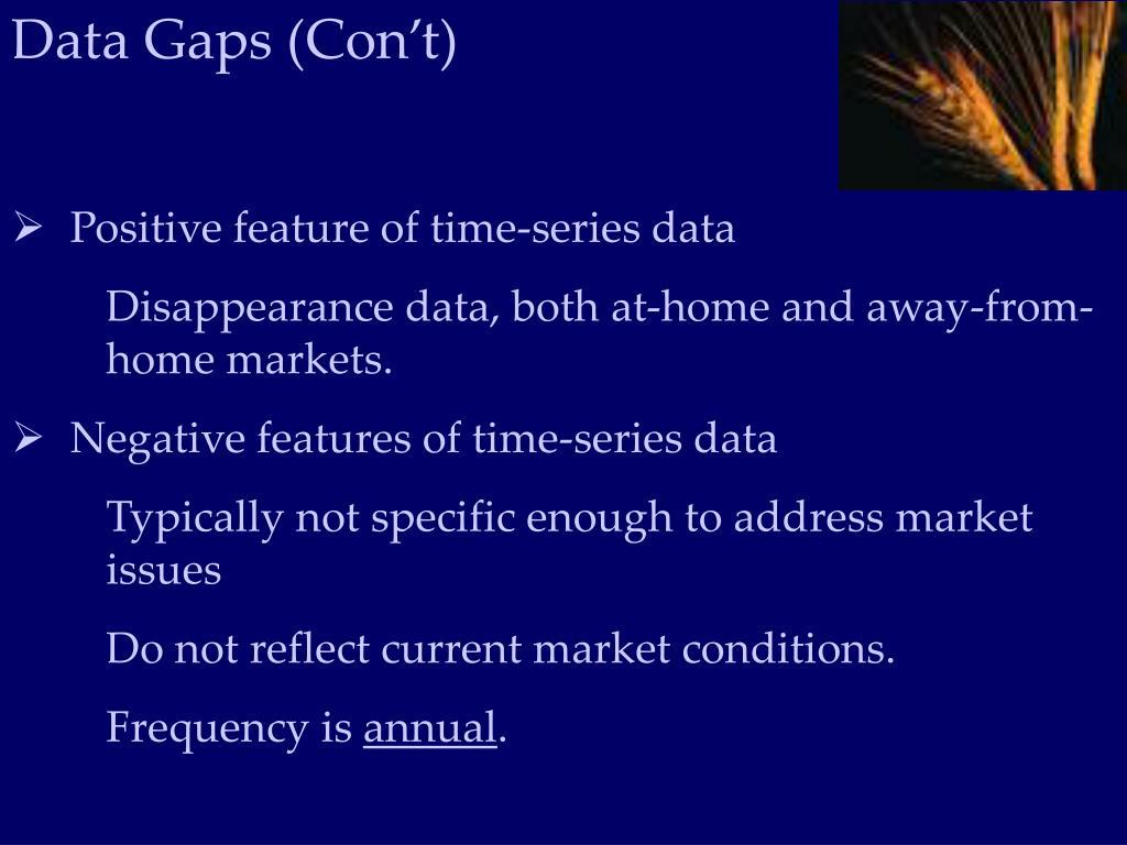 Data Gaps (Con't)