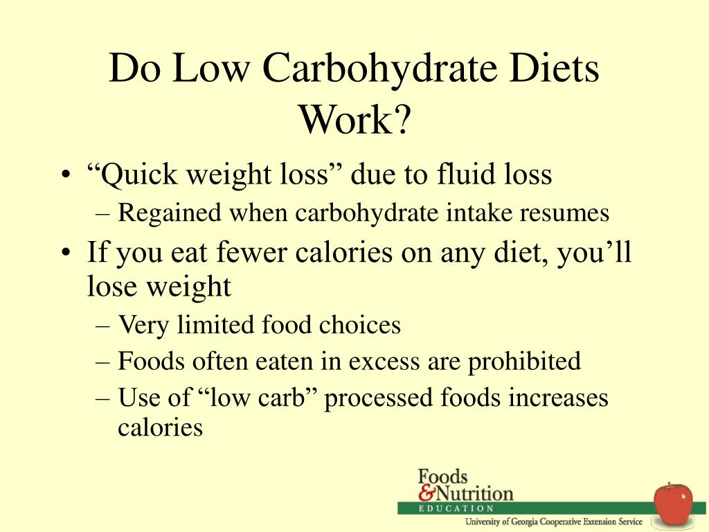 Do Low Carbohydrate Diets Work?