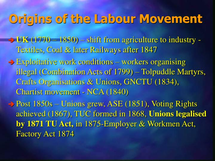 Origins of the labour movement