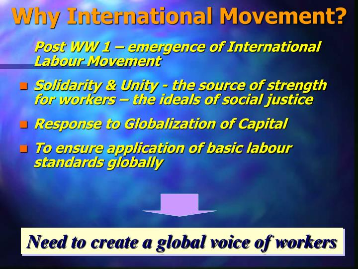 Why International Movement?