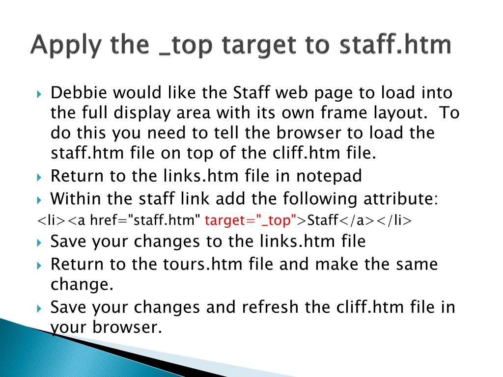Apply the _top target to staff.htm