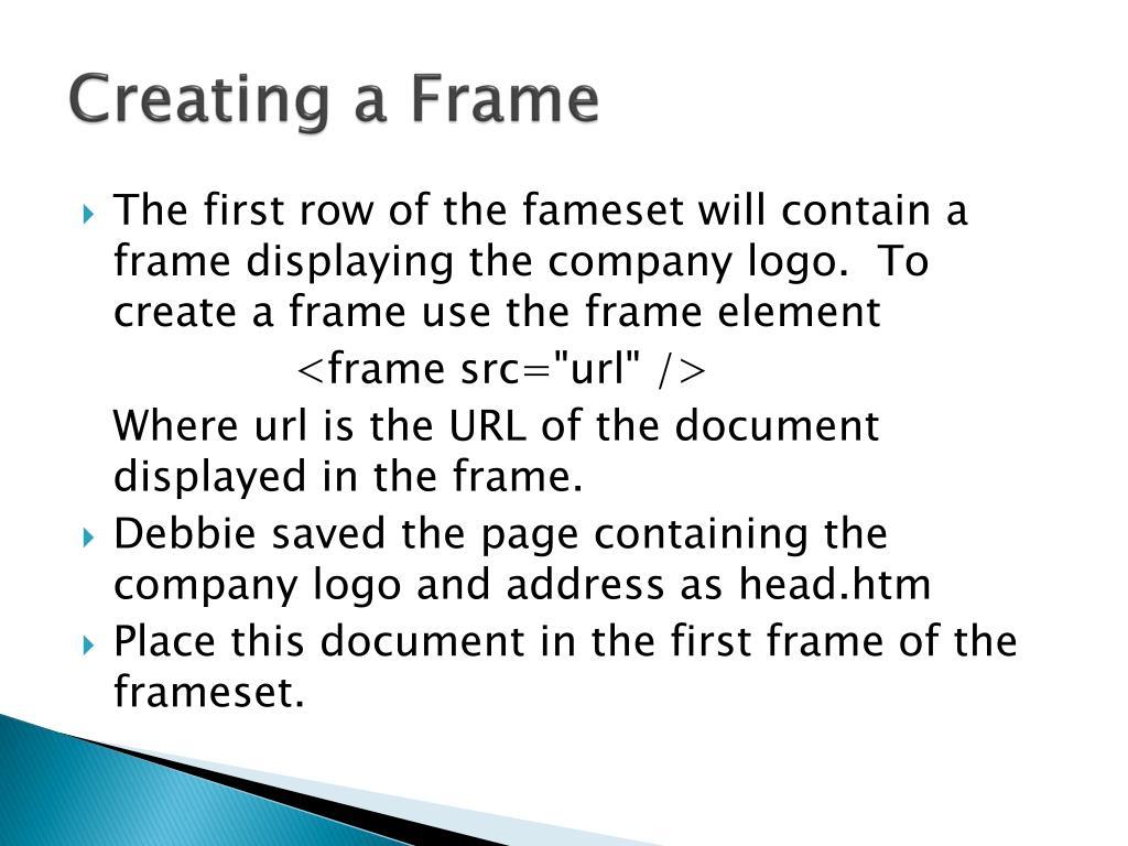 Creating a Frame
