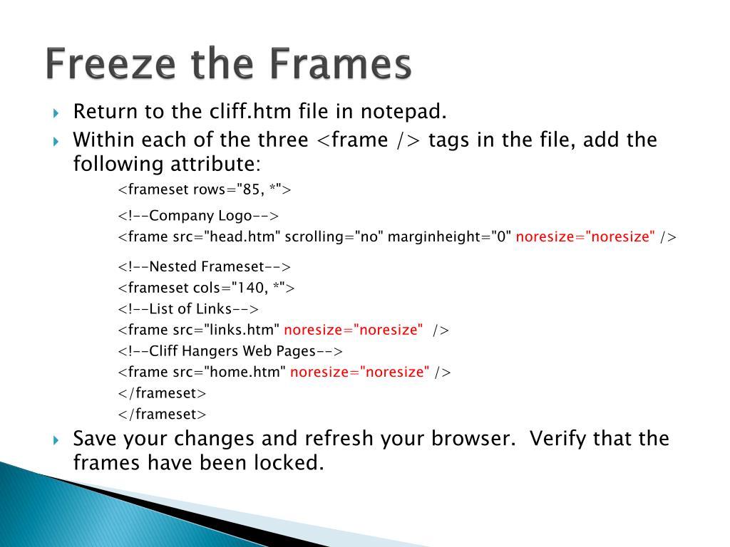 Freeze the Frames