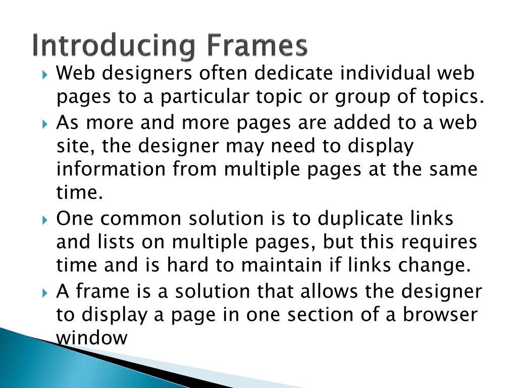 Introducing Frames