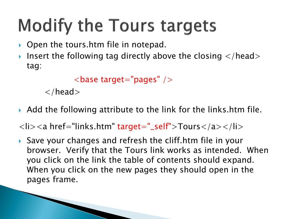 Modify the Tours targets