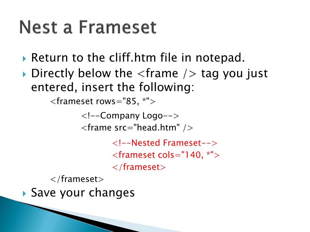 Nest a Frameset