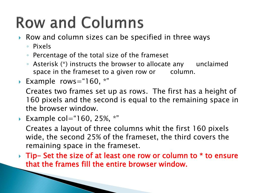 Row and Columns