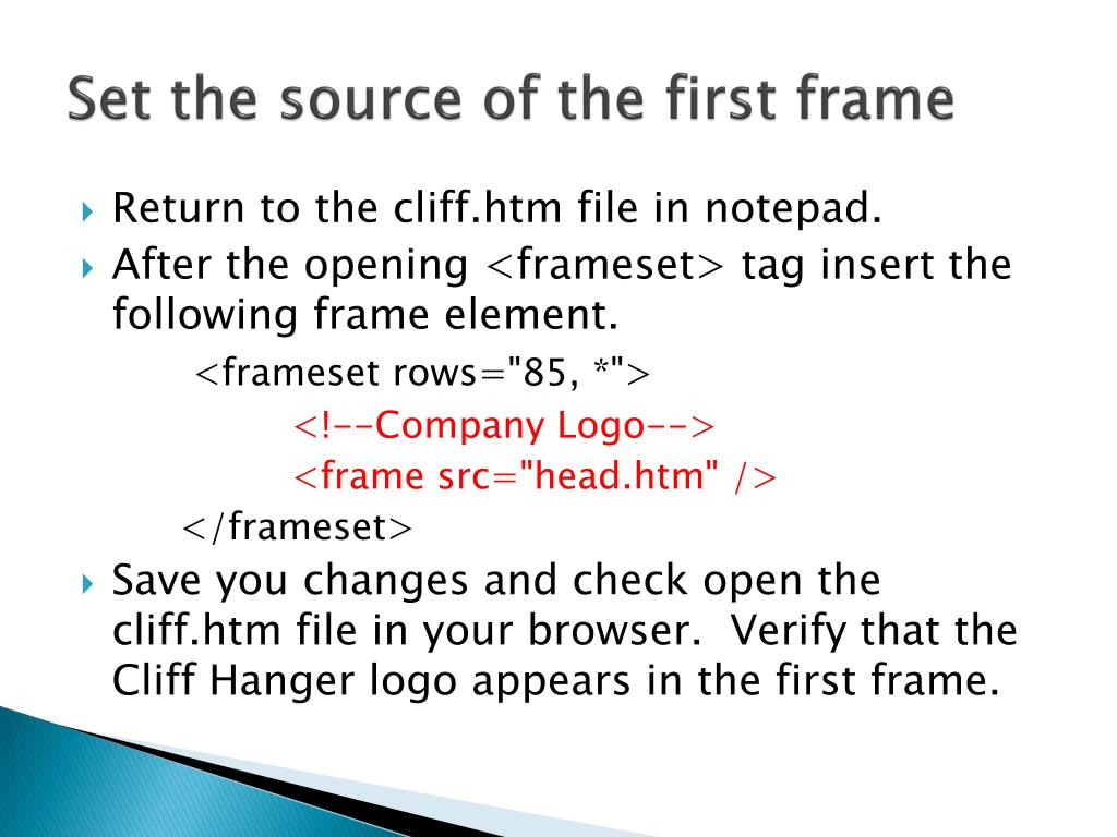 Set the source of the first frame