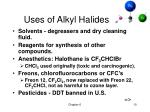 uses of alkyl halides
