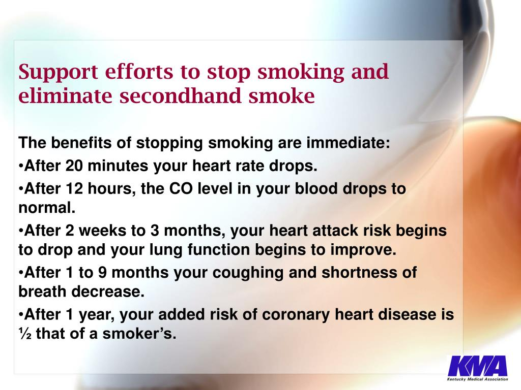 The benefits of stopping smoking are immediate: