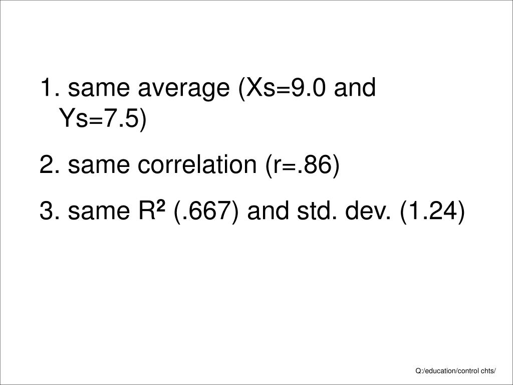 same average (Xs=9.0 and Ys=7.5)