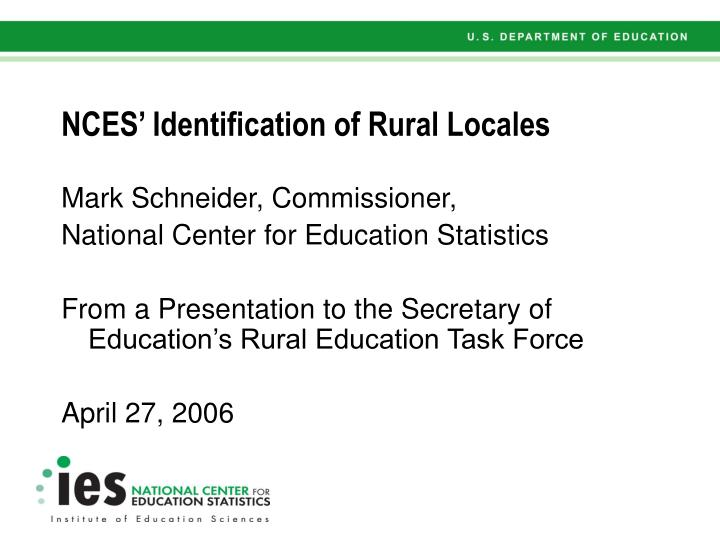 Nces identification of rural locales