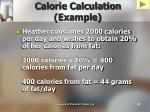 calorie calculation example